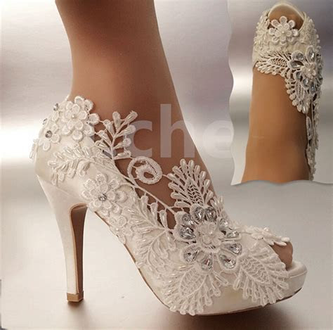 sucheny   heel satin white ivory lace pearls open toe