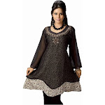 Indian Selections Black Georgette Flair Style Kurti Indian Tunic