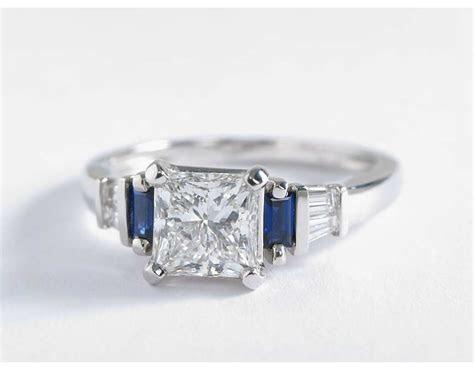 Robert Leser Baguette Cut Sapphire and Diamond Engagement