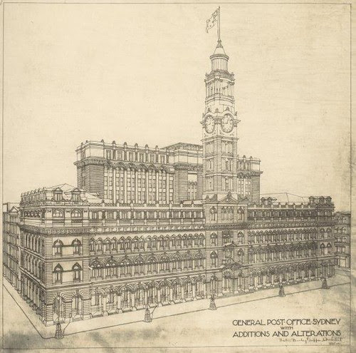Perspective of General Post Office, Sydney showing proposed additions and alterations 1919