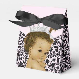 Pink Princess African American Baby Girl Shower Wedding Favor Box