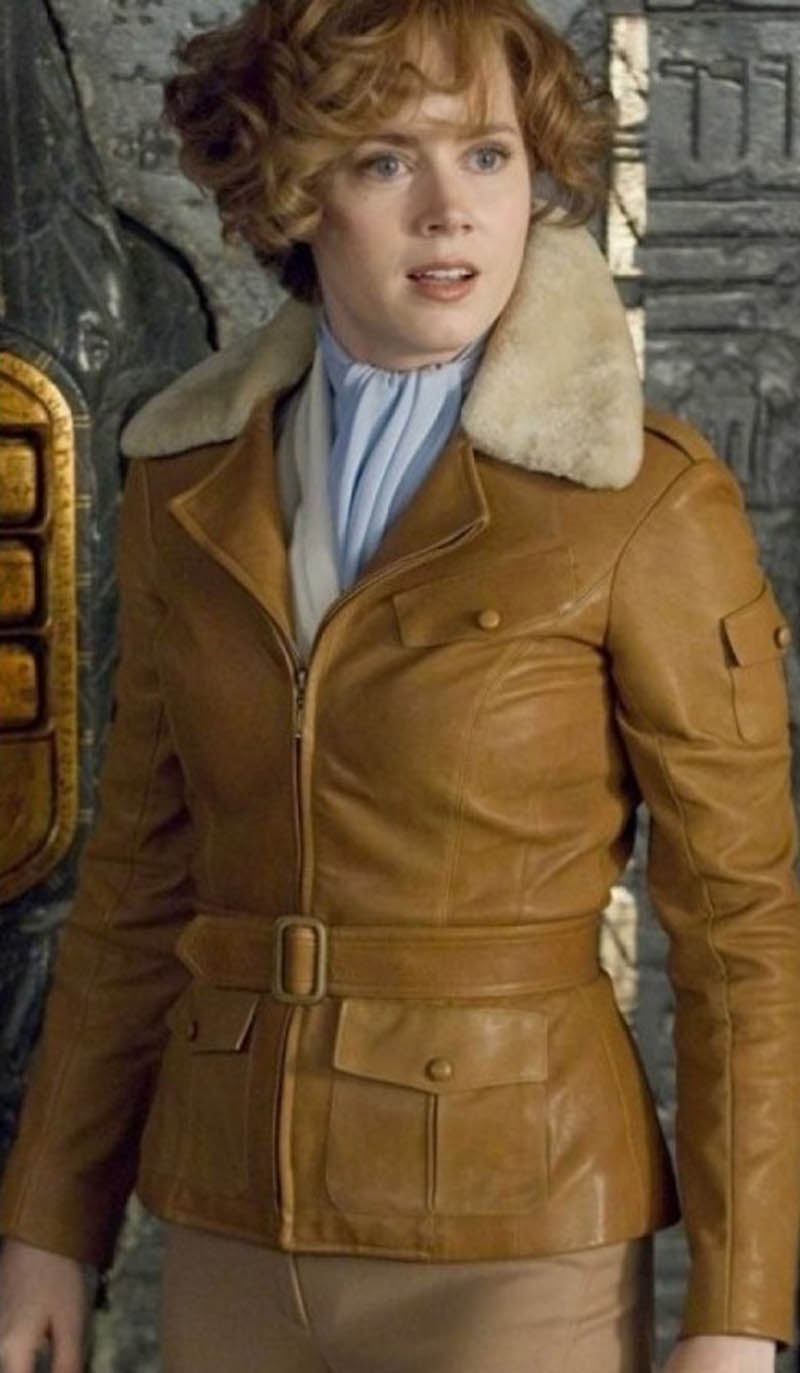Poles faux leather jacket with fur collar shows