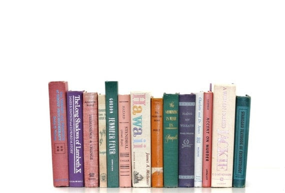 Front Page Featured-Colorful 14 Book Vintage Collection Interior design teen Decor Bright Pastel Vintage Book Decor