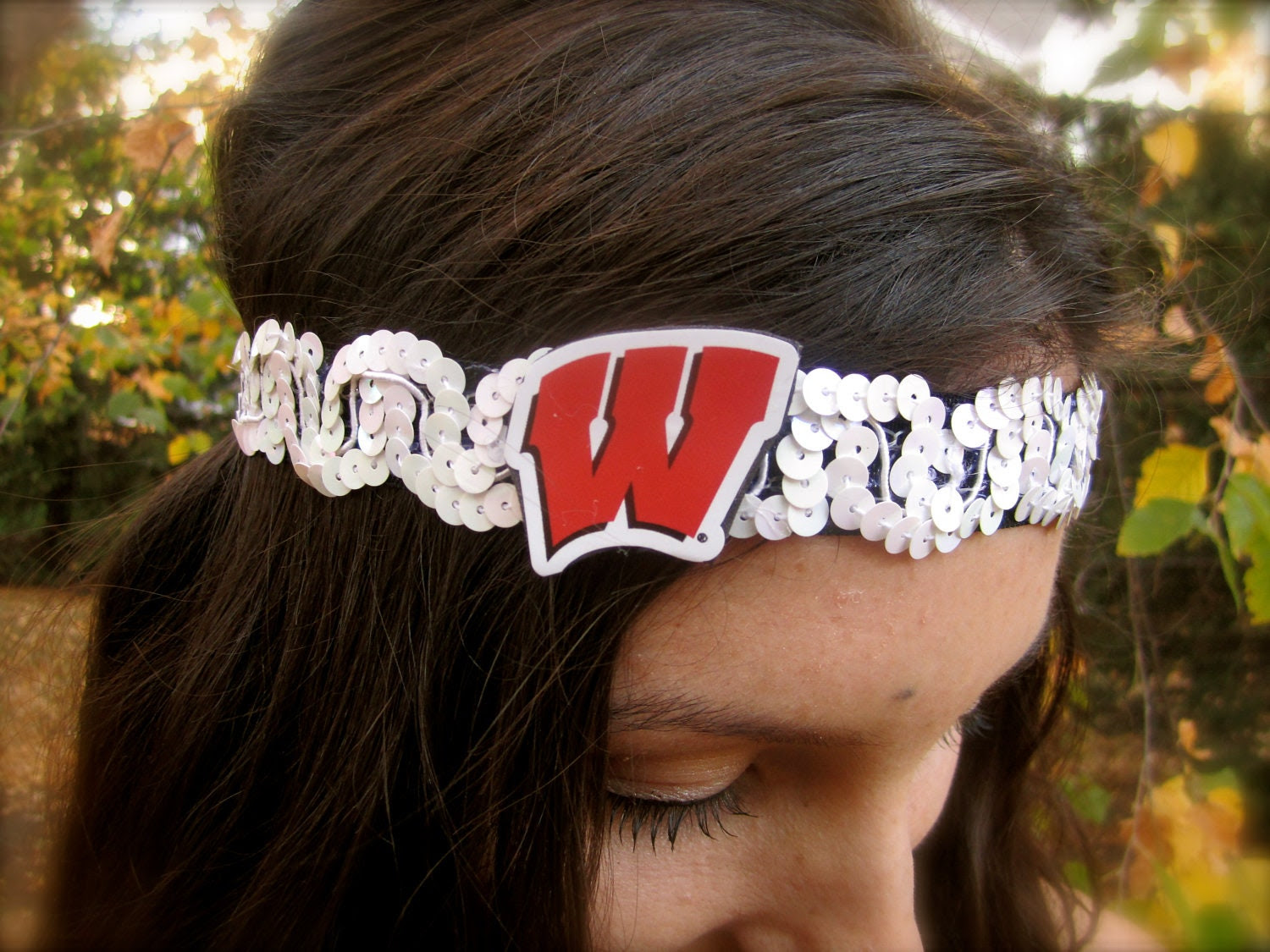 "Wisconsin ""Motion W"" Sequin Headband (NEW COLORS)"
