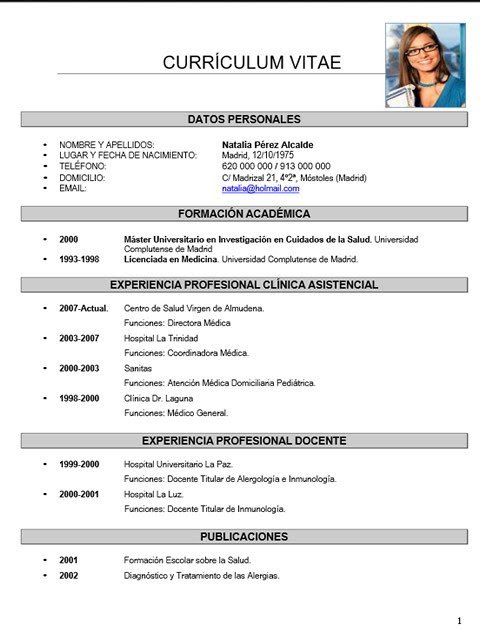 Curriculum Vitae Medico on