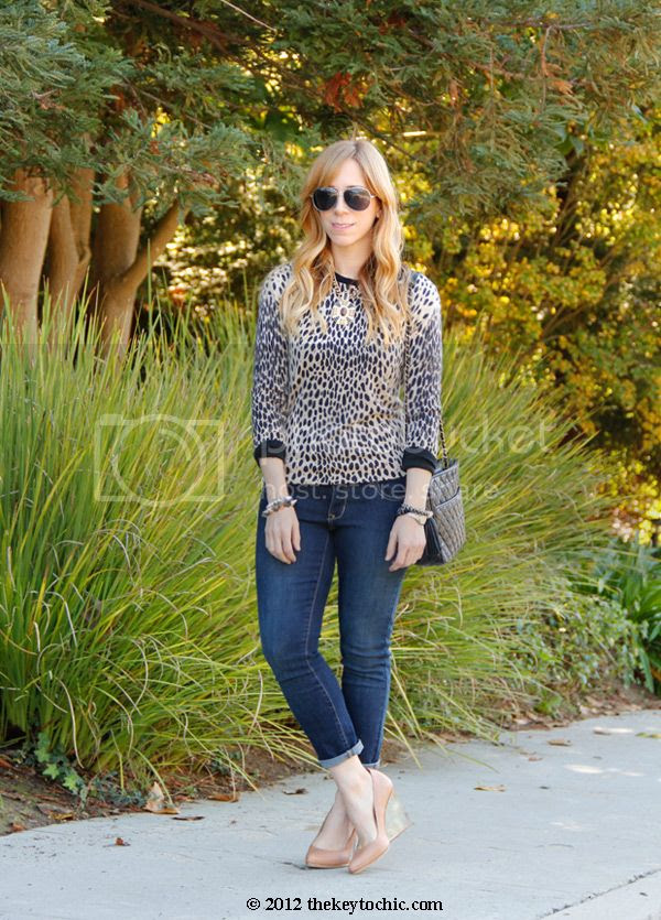 J Crew animal print sweater, Maison Martin Margiela H&M tan invisible wedge pumps, nude wedges with lucite heels, Old Navy super skinny jeans, Los Angeles fashion blog