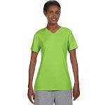 Hanes 483V Women's Cool Dri V-Neck T-Shirt - Neon Lime