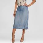 S&P by Standards & Practices Women's Lightweight Denim High Waisted Skirt Medium Blue