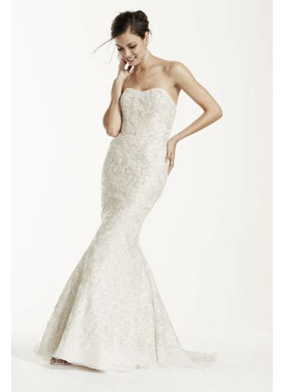 Strapless Mermaid Wedding Gown with Gold Lace   David's Bridal