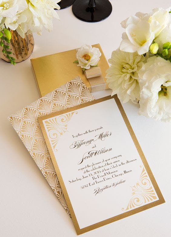 schicke gold-Folie und weißen Hochzeitseinladungen mit art-deco-Drucke