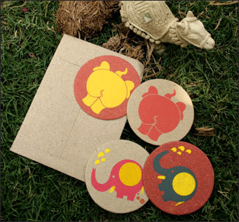 Elephant Poo Paper Knic Knacks, Coasters from Haathi Chaap