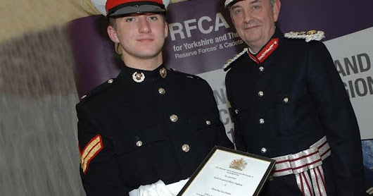 Huddersfield Sea Cadet Oliver Ingham honoured with Outstanding Service by south Yorkshire Lord-Lieutenant Andrew Coombe