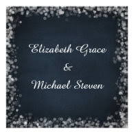 Classy Black Chalkboard with White Bokeh Lights Personalized Invite
