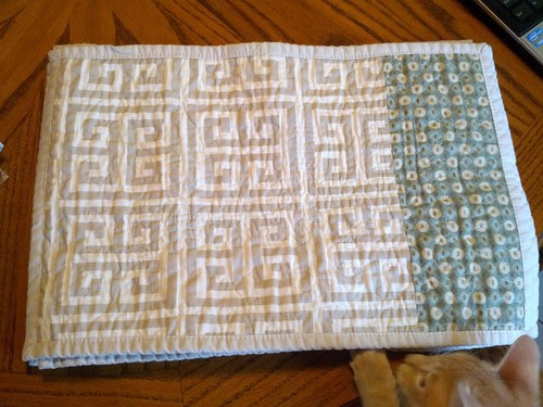 back of blue and green placemats