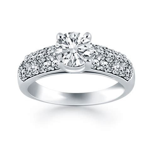 14K White Gold Tapered Pave Diamond Wide Band Engagement