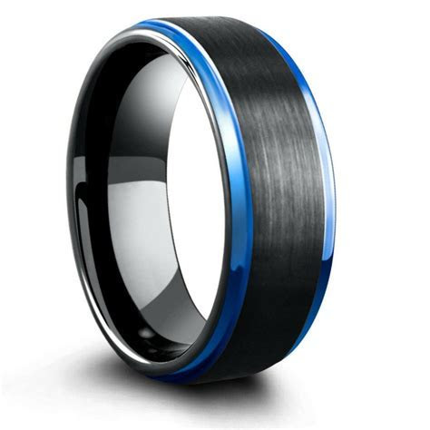 8mm Blue & Black Mens Tungsten Wedding Band With Step Down