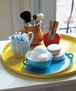 Stash Toiletries in Mismatched Tableware
