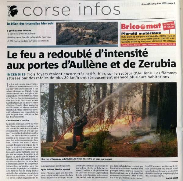 incendie de juillet 2009 à Aullène