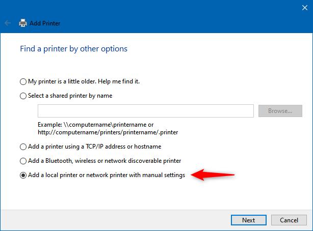 Agregar una impresora local o una impresora de red con configuración manual