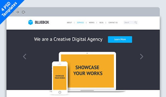 BlueBox: Flat Website PSD Template Free PSD File Download