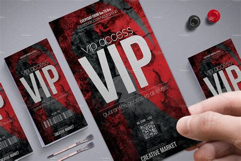 Horror Style Vip Pass Template ~ Card Templates ~ Creative