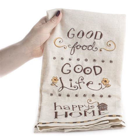 """Happy Home"" Embroidered Cloth Dish Towel   Kitchen Towels"