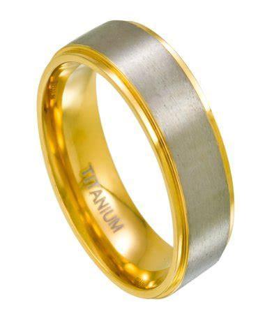 Mens Titanium Two Toned Wedding Bands   Gold, Satin