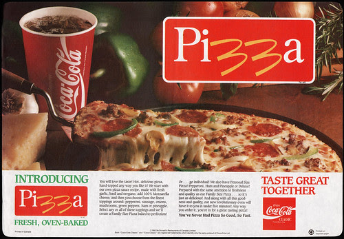 McDonalds Trayliner Placemat - Canada - McPizza and Coca-Cola - 1992
