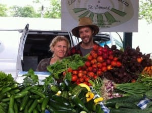 Jean Martin and Maude-Hélène at farmers market