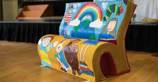 Book-shaped benches unveiled across Manchester to inspire children to read