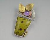 Purple Stone Pendant - Artisan Statement Necklace - Metalsmith Jewelry - DeborahCloseDesigns