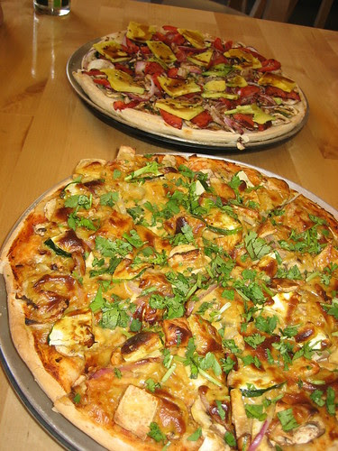 satay pizza and ben's special at plush pizza