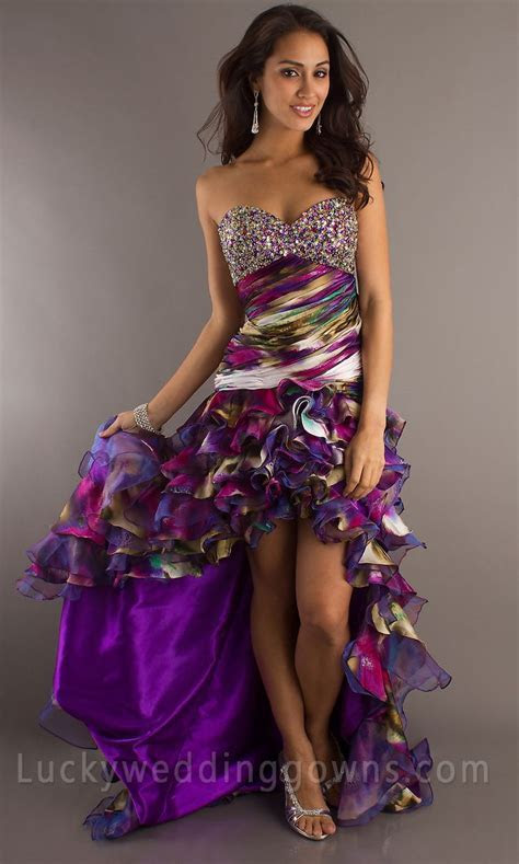 Strapless Ruched & Ruffled Purple Print Sweetheart