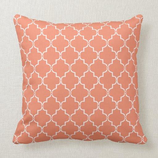 Coral Moroccan Trellis Pattern Pillow