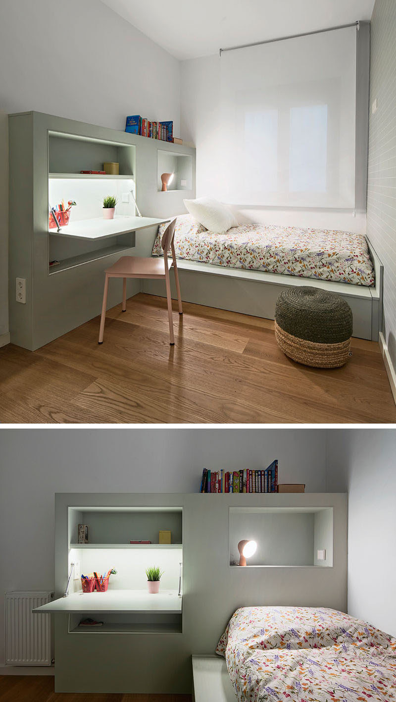 This Small Kids Bedroom Combines The Bed Frame, A Desk ...