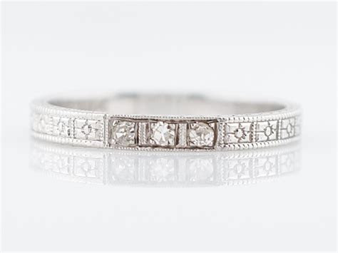 Antique Wedding Band Art Deco .03 Single Cut Diamonds in