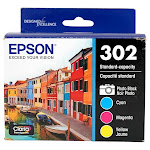 Genuine Epson 302 Photo Black/Color Ink Cartridge, Standard Yield, 4/Pack (T302520-S) New