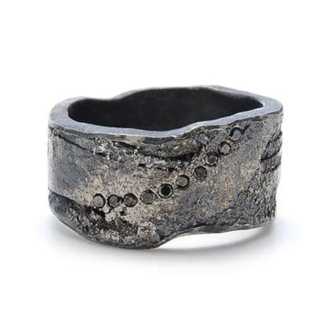Todd Reed Palladium and Black Diamond Mens Wedding Band