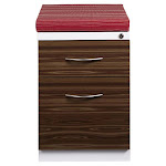 Hirsh Mobile Pedestal 2-Drawer File with Wood Front and Red Seat Cushion