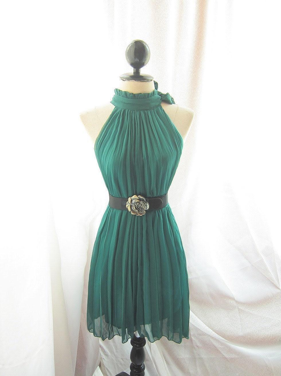 Classic Forest Green Havisham Romantic Fall Chiffon Secret Garden Twilight Dress