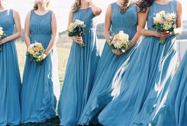 French blue ärmelloses illusion-Ausschnitt Brautjungfern Kleider
