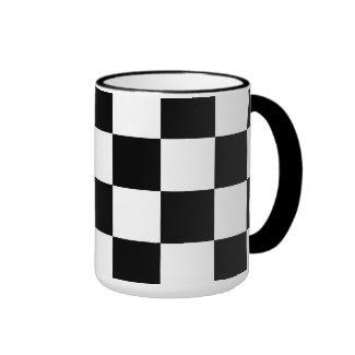 Checkered Black and White Ringer Mug
