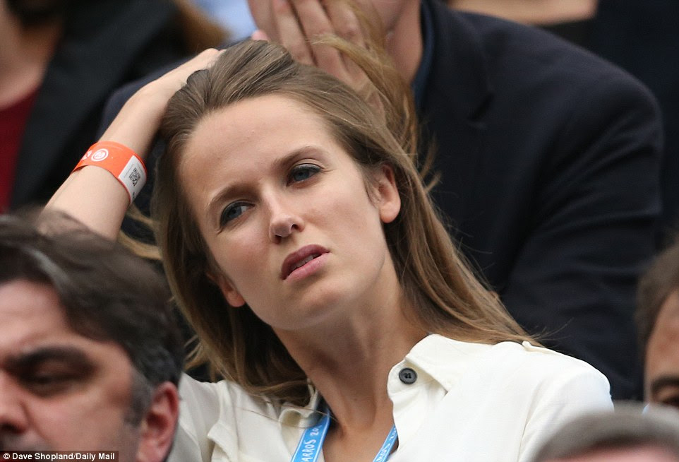 Murray's wife, Kim, watches on as her husband toils in the final of the French Open at Roland Garros on Sunday