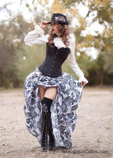 victorian steampunk black corset  white