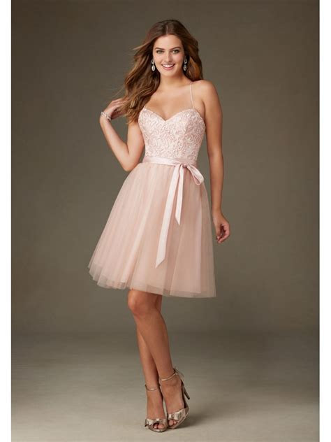 Short Pink Spaghetti Straps Embroidered Tulle and Satin