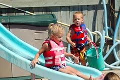 Lindsey down the slide!