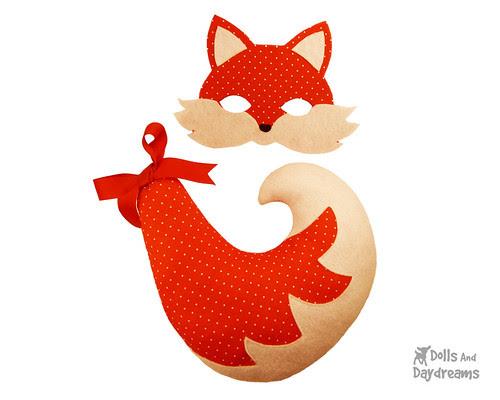 Fox Mask Tail DIY Tutorial Pattern Felt kids Adults Children Cute Kawaii copy