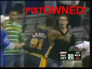 A Piston fan getting owned by Ron Artest of the Pacers