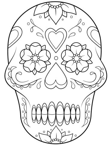 Dibujo De Calavera De Azúcar Con Flores Y Corazones Para Colorear