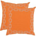 Safavieh Sibine 18-inch Orange Decorative Pillows (Set of 2)